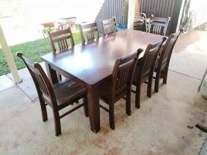 Solid timber 8 seater dining table