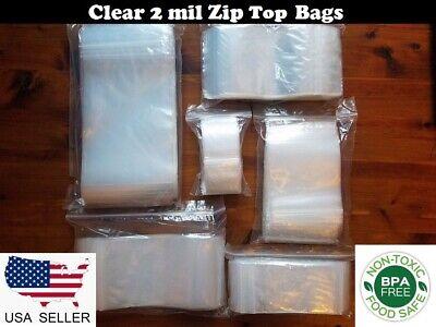 Clear Reclosable Zip Top Plastic Lock Seal 2-mil Bags Jewelry Zipper Baggies