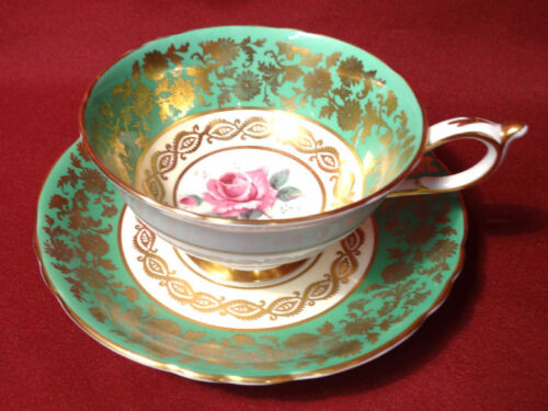 Antique Paragon Gold & Roses Green Tea Cup & Saucer