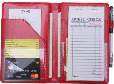 Restaurant Guest Checks Book Server Waitress Pad Credit Card Holder Organizer