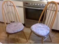 4 x Ercol mid-century Quaker Windsor Dining Chairs Genuine Blue Label