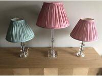 3 Laura Ashley Cut Glass Lamp Base Set with Shades