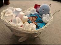Large Baby Pram Hamper Wicker Basket Baby Shower Party Baby Gift