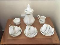 'Richmond' Teal Fluted Bone China Coffee Set