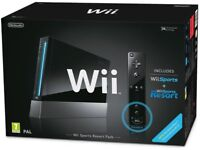 Nintendo Wii black console with Wii Remote Plus built in motion plus