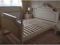 King size bed frame VGC French style Provence antique cream