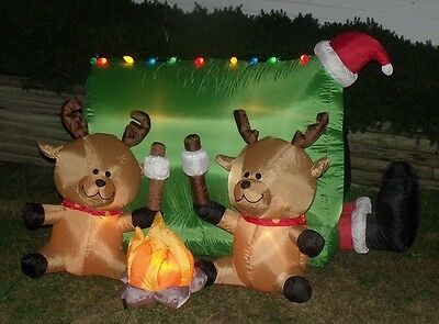 Christmas Gemmy Lighted Airblown Inflatable Reindeer Camping Tent Deer Camp Yard