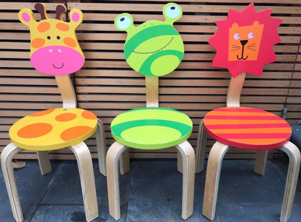 3x Childrens Wooden Animal Chairs From Nino Ideas In Highgate - Animal-chairs-for-children
