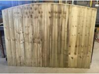 🥇BOW TOP PRESSURE TREATED WOODEN GARDEN FENCE PANELS