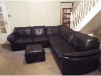 Great Quality Large Leather Corner Sofa & Foot Rest