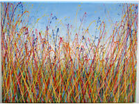 LARGE ABSTRACT NEW LANDSCAPE GRASS MEADOW & BLUE SKY MODERN ART PAINTING ON CANVAS | Free Delivery
