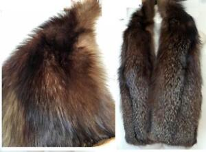 "FUR STOLE Huge 56"" X 9"" Silver Tipped Fox Real Fur Stole Womens Scarf Dark Brown Luxurious Incredibly soft Expensive"