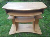 Solid Oak Wood Computer Desk with Two Sliding Shelves