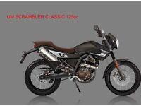 * Brand New 2017 * UM Scrambler Classic 125cc . Warranty. Nationwide delivery. Main dealer: