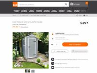Keter Apex Plastic Manor Shed 4x6 Brand New B&Q