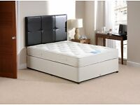 Pocket sprung double bed divan and mattress 4 foot 6