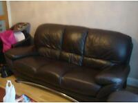 Brown leather sofas 3, 2 and 1 seater