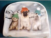 Large White Toiletries Cosmetics Bag with 2 Dogs and a Cat with Woolie Hats