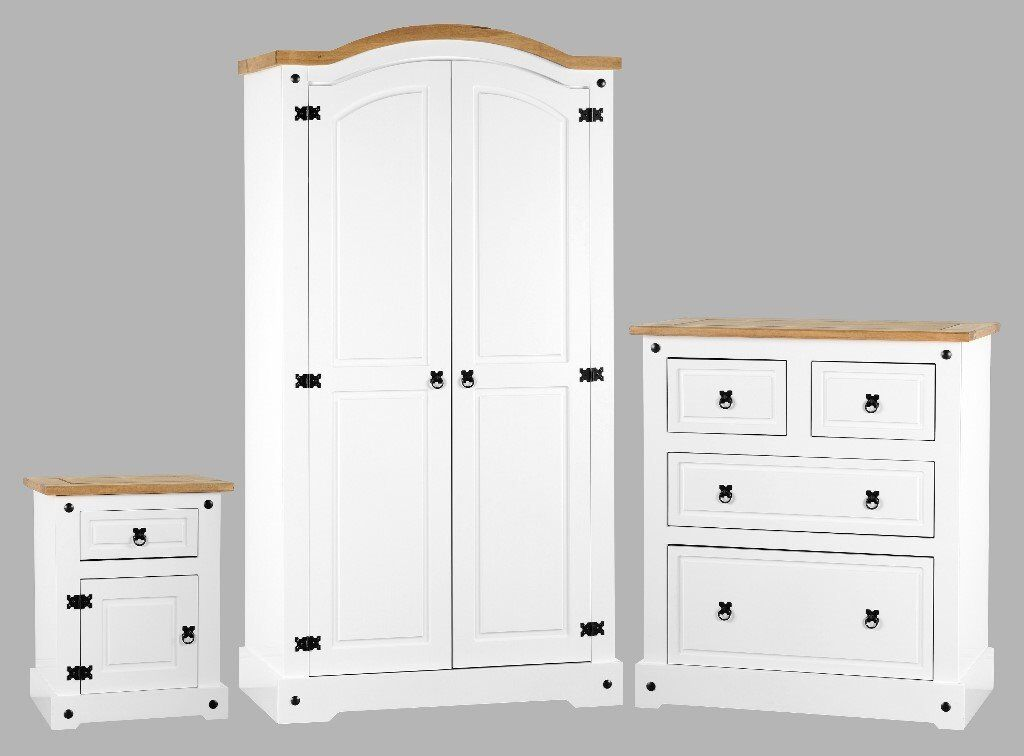 White Bedroom Furniture Set Solid Wood Wardrobe-Chest Of ...