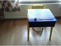 Childs wooden school desk and chair