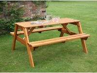Wooden picnic table on Great value now half price to clear