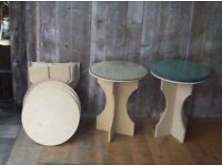 2 Chipboard, round tables with glass tops