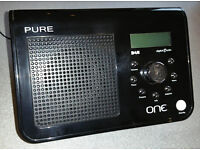 PURE ONE DAB RADIO - black portable in full working order