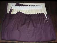 Pair of plain, dusky mauve, lined curtains with pencil pleat header