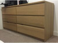 2 Chest of drawers (3 drawer each) from Ikea (Malm, white oak veneer), also sold separately