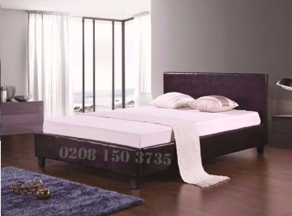 ❋❋ STYLISH & LUXURY DESIGN ❋❋ DOUBLE LEATHER BED FRAME WITH FULL FOAM MATTRESS BLACK OR BROW