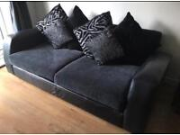 Grey 3 seater part leather sofa with swivel chair and pouffe