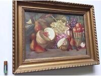 Antique Oil Painting On Canvas Still Life Fruit Carved Gilt Wood Frame Signed 19th Century