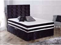 NEW YEAR OFFER NEW IN DOUBLE CRUSH VELVET BED WITH FULL ORTHO MATTRESS -- LIMITED OFFER