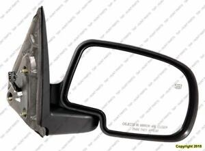 Door Mirror Power Passenger Side Heated With Manual Folding With Puddle Lamp Textured With Smooth Cap Withoutff Road GMC