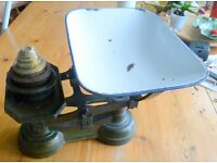 Victorian Cast Iron Kitchen Scales and Brass Weights