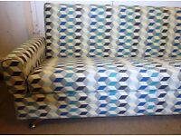 Blue Grey Teal Diamond Pattern Sofabed