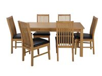 Solid Wood Table & 6 Paris Chairs - Black