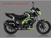 * Brand New 2017 * UM XTREET RC 125cc. Warranty. Free Nationwide delivery. Main dealer: