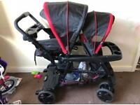 Double buggy + car seat + car seat holder