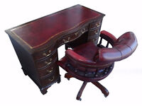 Flame Mahogany Bevan Funnell Serpentine Pedestal Desk(Key)+Captains Chair