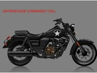 * Brand New 2017 * ​UM RENEGADE COMMANDO 125cc .Warranty. Nationwide delivery. Main dealer: