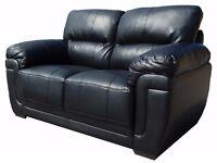 3 Seat Sofa - Black Bonded Leather - Brand New
