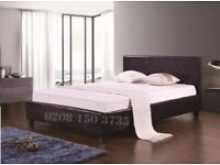 💛💛EXPRESS DELIVERY💛💛Double Leather Bed Frame With Mattress -- Order Now - Black / Brown