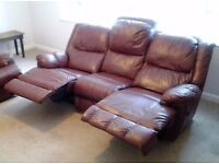 3 Seat Leather Settee with 2 reclining seats good condition