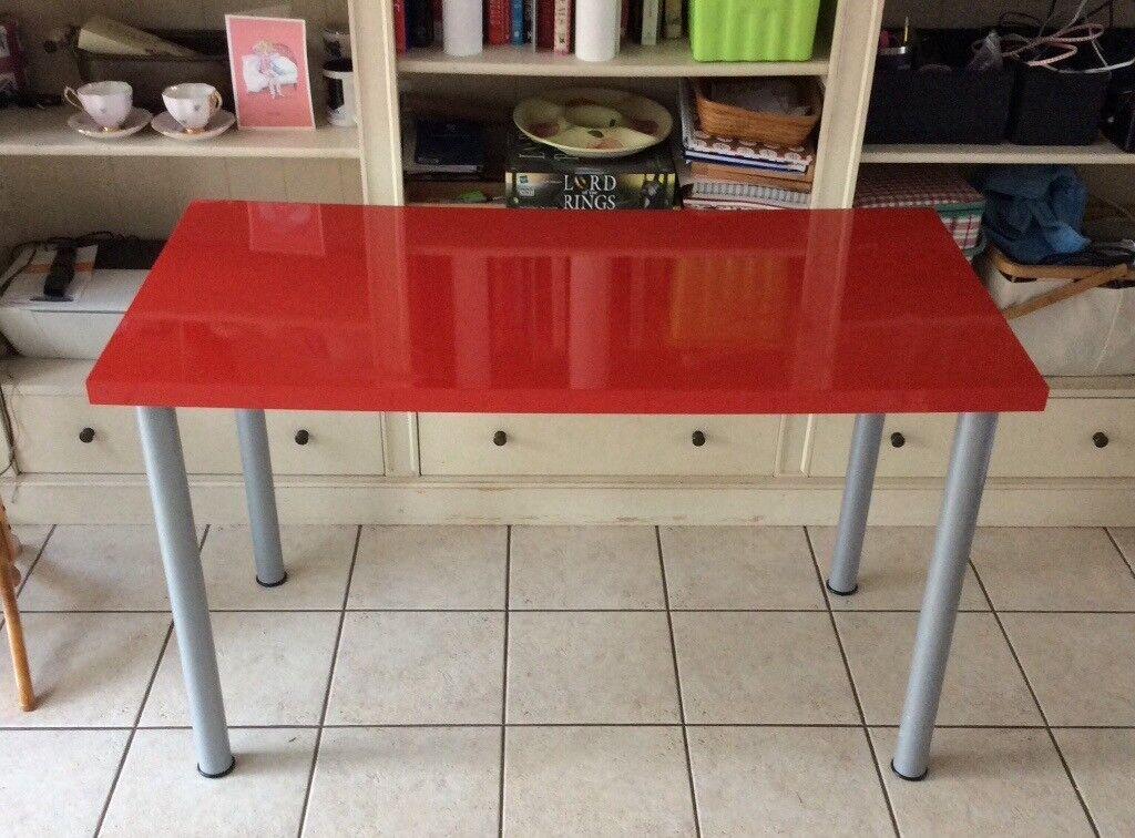 IKEA Linnman Desk Study Table Red Adjustable Legs VGC