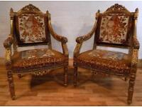 SOLD - French style Gilded chairs (pair)