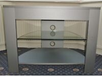 SILVER GREY CORNER TV TELEVISION DVD STAND ENTERTAINMENT UNIT WITH GLASS SHELF
