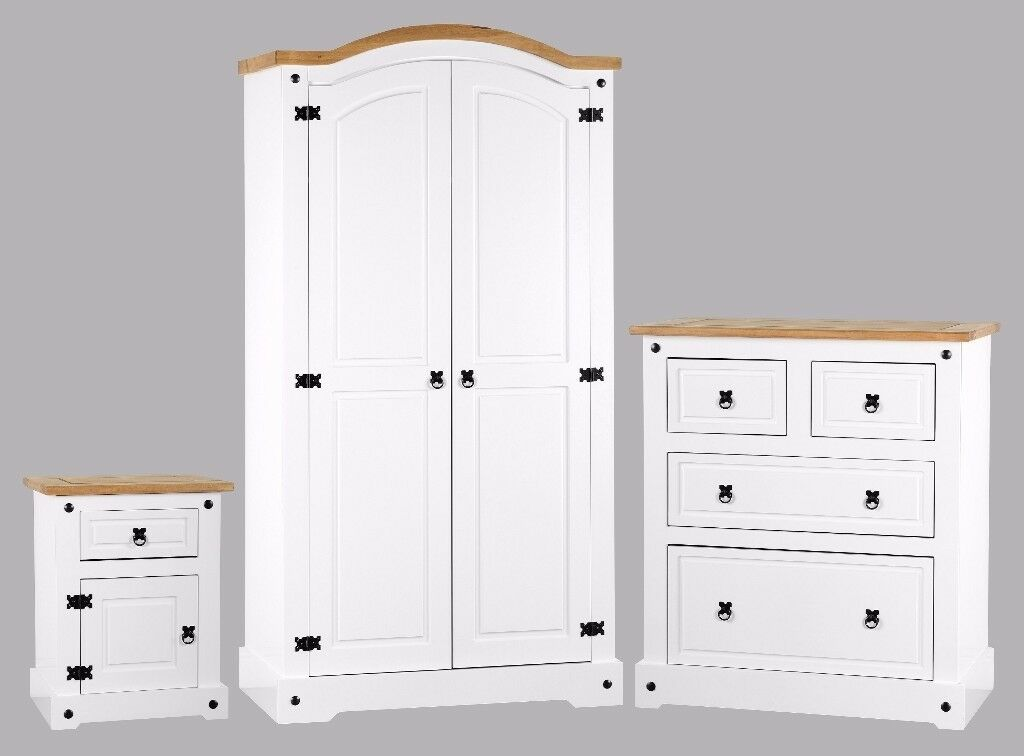 WHITE CORONA BEDROOM SET - WARDROBE, CHEST, BEDSIDE AND BEDFRAME