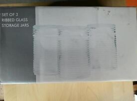 3 Ribbed Glass Storage Jars Still Boxed