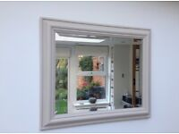Painted wooden frame mirror with bevel edge glass painted vintage cream